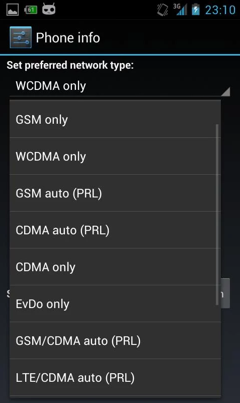 нужно перейти на экран для переключения связи с 3G на 4G LTE
